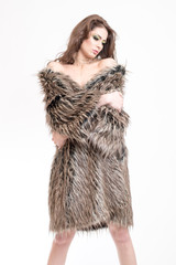 model posing in fur coat