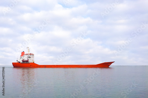 red boat on the sea