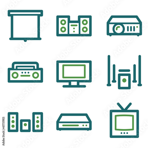 Audio video web icons, green line set