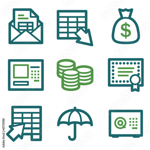 Banking web icons, green line set