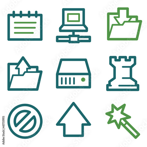 Data web icons, green line set