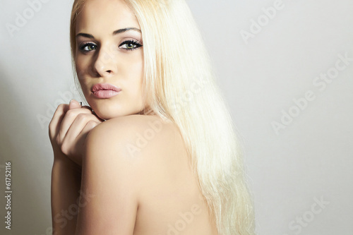 Beautiful Woman with Healthy Hair. Beauty Sexy Blond Girl