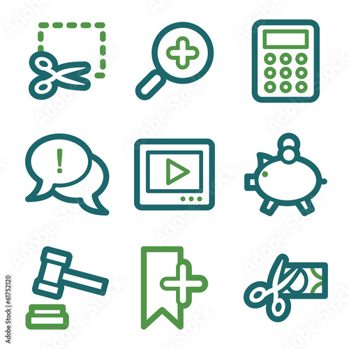 Shopping web icons, green line set