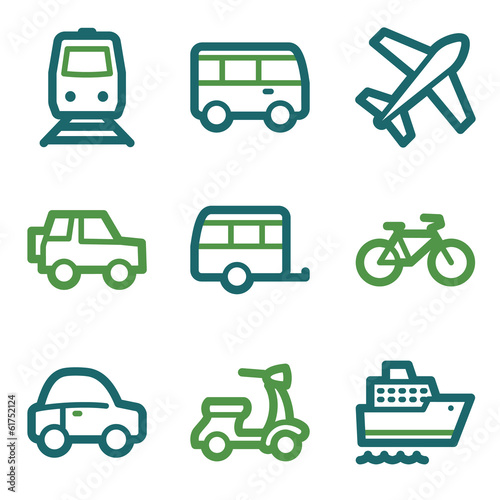 Transport web icons, green line set