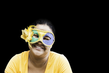 Brazilian woman celebrating the carnival