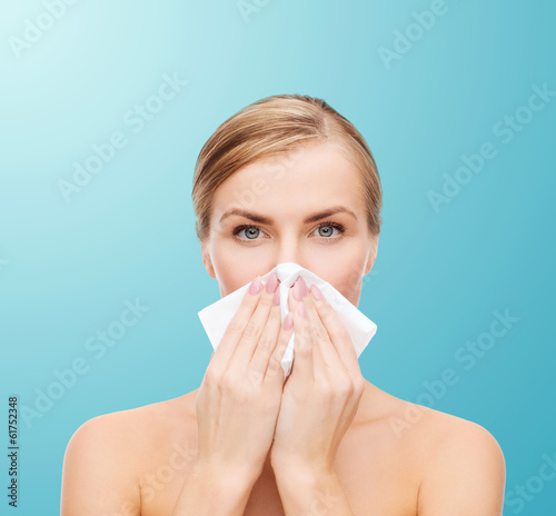 beautiful woman with paper tissue