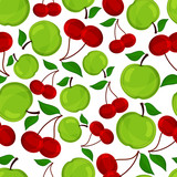 Seamless pattern of apple and cherrys .