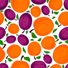 Seamless pattern of apricots, vector illustration.
