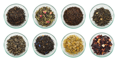 Assortment of dried tea leaves. © geografika