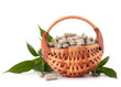 Herbal drug capsules in wicker basket. Alternative medicine conc