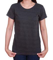 blank t-shirt on woman