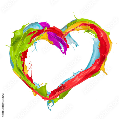 Colored splashes heart
