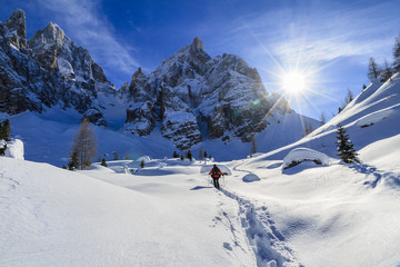 Snowshoeing in the Pale di San Martino Nat. Park, Italy