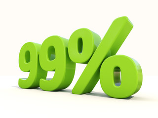 99% percentage rate icon on a white background
