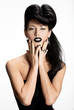 fashion woman with black nails and lips in black color