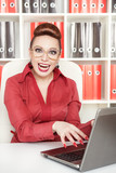 Smiling success business woman in glasses