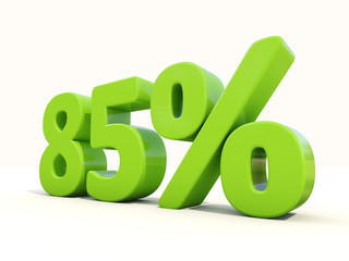 85% percentage rate icon on a white background