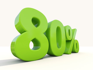 80% percentage rate icon on a white background
