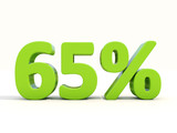 65% percentage rate icon on a white background