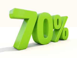 70% percentage rate icon on a white background