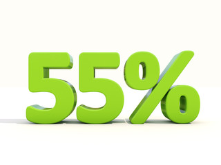 55% percentage rate icon on a white background