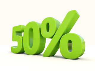 50% percentage rate icon on a white background