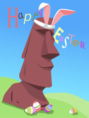 Happy Easter card with Rapa Nui moai statue