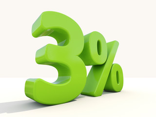 3% percentage rate icon on a white background
