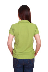 female with blank green polo shirt (back side)