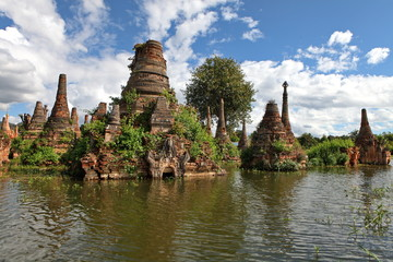 Ancient flooded pagodas, Samkar village, Inle lake, Myanmar