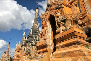 Pagodas with statute and bas-relief of Indein, Myanmar