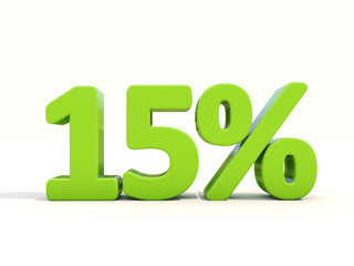 15% percentage rate icon on a white background
