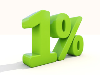 1% percentage rate icon on a white background