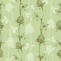 Seamless pattern with a clover drawing