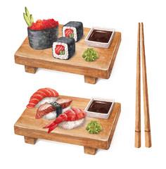 Delicious sushi. Watercollor illustrations