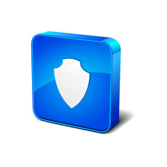 Shield 3d Blue Rounded Corner Blue Vector Icon Button