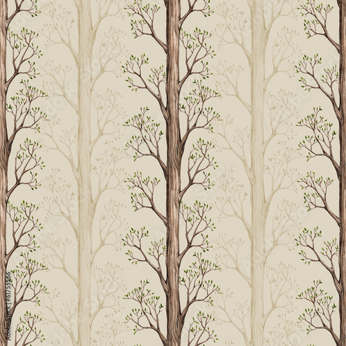Seamless pattern with a watercolor tree illustration - 61755566