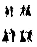 dance couples in silhouette