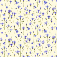 Bluebell flower illustration. Watercolor seamless pattern
