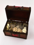 Treasure Chest With Silver coins 1