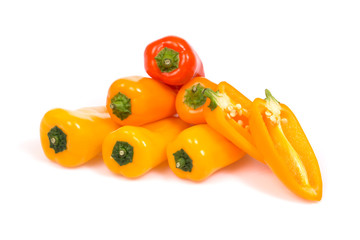 Group of sweet mini paprika on the isolated background.