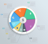 Pie chart with icons, infographics, for web and mobile