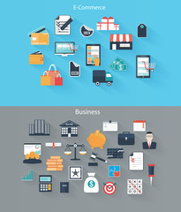 Set of flat icons for web and mobile devices, e-commerce, busine