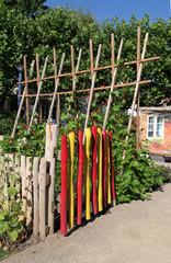Holzzaun mit Gemüsegarten und Stangenbohnen
