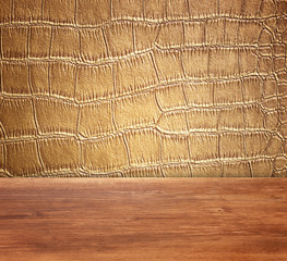 Golden Crocodile Skin Texture and pattern, closeup