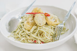 Stir Fried Spicy Spaghetti with scallop tempura
