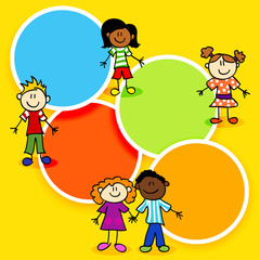 Cartoon kids and color circles-2