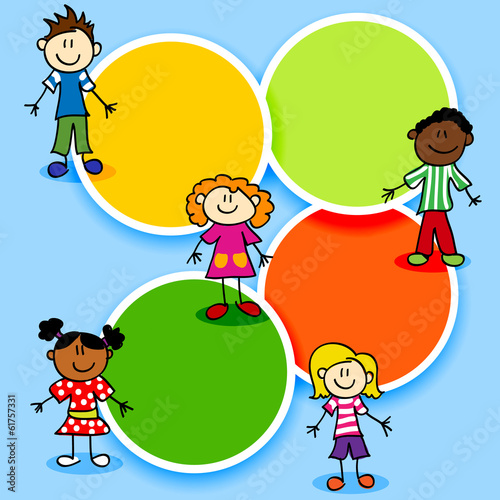 Cartoon kids and color circles