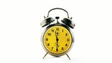 Vintage alarm clock over white background. Time running backward