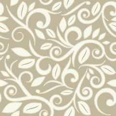beige tan or cream floral seamless pattern with dots